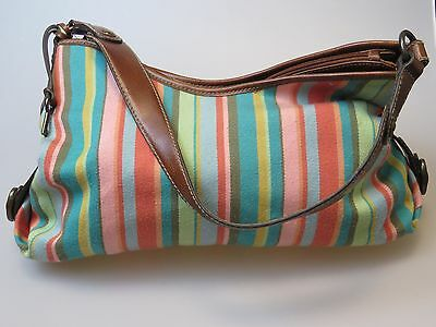 FOSSIL Striped Multi Color Fabric Cloth Faux Leather Purse Shoulder Hand Bag