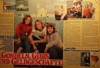 2 german clipping BEE GEES ROBIN BARRY ANDY GIBB N. SHIRTLESS ROCK BOY BAND BOYS