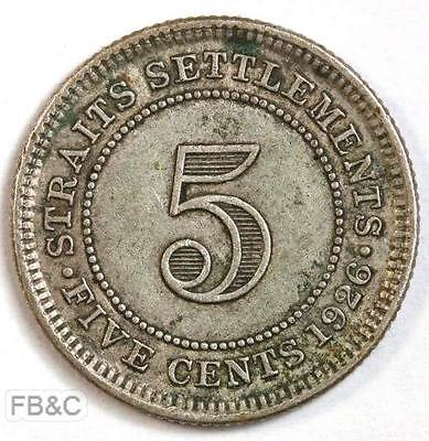 1926 Straits Settlements 5 Cents Silver Coin KM#36
