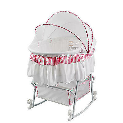 Dream On Me Lacy Portable 2-in-1 Bassinet and Cradle - Pink/White