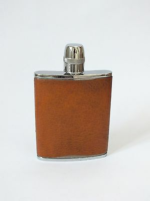 Vintage Pocket Hip Spirit Flask Calf Leather Chrome and Glass