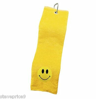 Brand New Asbri Golf Yellow Smiley Crested Towel. Yellow