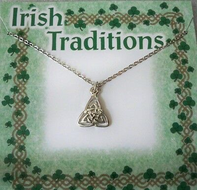 """Celtic Trinity/Eternity knot necklace on 18"""" silvertone chain, USA made, carded"""