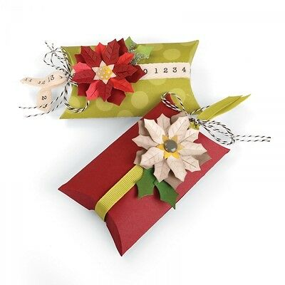 7 SIZZIX Thinlits Stanzschablone Schachtel Blüte PILLOW BOX + POINSETTIA 660660