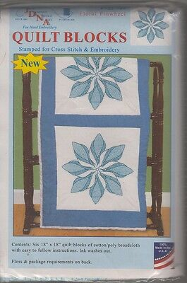 """1 Pk Dempsey """"Floral Pinwheel"""" Stamped Xstitch/Embroidery Quilt Blocks"""
