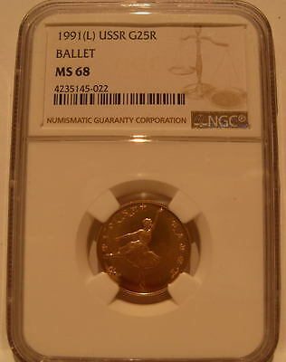Russia USSR 1991L Gold 25 Roubles NGC MS-68 Ballet