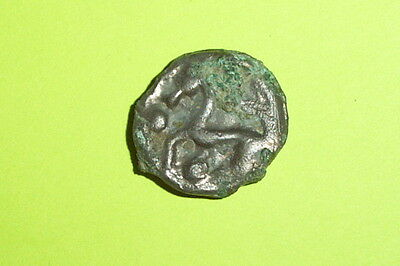 RARE Ancient CELTIC COIN horse SENONES TRIBE 100 BC-50 BC potin GAUL old FRANCE