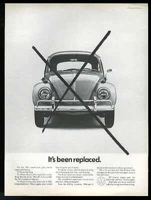 1968 VW Volkswagen Beetle classic car photo It's Been Replaced vintage print ad