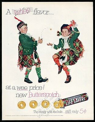 1952 Life Savers Butter Scotch Lifesavers Butterscotch candy kilt kids print ad