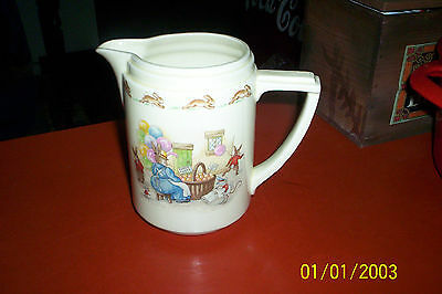 "Royal Doulton Bunnykins  6 "" Casino Milk Jug  Engine pulling train/Orange Vender"