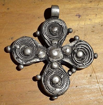 Antique Ethiopian Christian Cross Ethnic Coin Silver Pendant Ethiopia, Africa