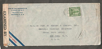 Guatemala 1943 WWII examined by 12585 censor cover to Grasselli Chemicals NY