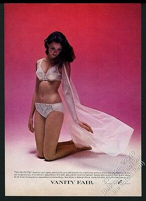1976 Vanity Fair lingerie woman in white bra panties color photo vintage ad