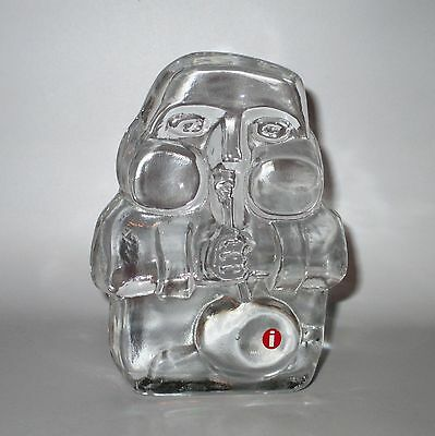 """Iittala Glass Blower Paperweight Sculpture Clear with Label 4"""" Tall Finland"""