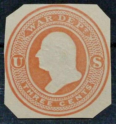 US Early UO52 Cut Square 3c Red Official War Department 1875 Fawn Unused