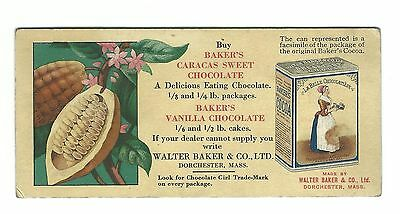 Old AD Card Walter Baker Dorchester Mass Baker's Caracas Sweet Chocolate Vanilla