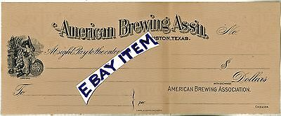 1905 BANK CHECK sight draft HOUSTON Texas AMERICAN BREWING ASSOCIATION Pre Pro
