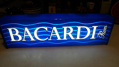 Beautiful Rare Blue Bacardi Rum Lighted Whiskey Beer Bar  Sign Metal/plexiglass