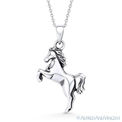 Rearing Mustang Stallion Horse 925 Sterling Silver Animal Charm Necklace Pendant