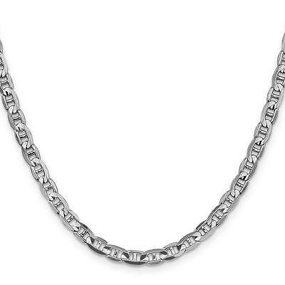 "14k White Gold 4.4mm Polished Concave Anchor Link Chain Necklace 7"" - 24"""