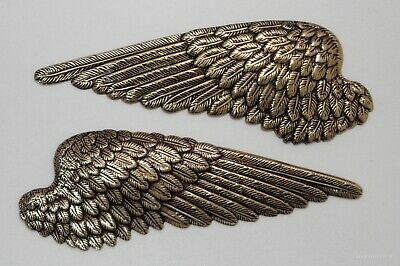 #3441 LARGE ANTIQUED GOLD LEFT/RIGHT FEATHERED ANGEL WINGS - 2 Pc Lot (1 Pair)