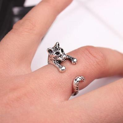 Creative Animal 3D Tiger Leopard Opening Alloy Ring Retro Finger Rings