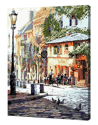 Framed Painting by Number kit The Urban Street Corner Sunshine Afternoon YZ7404