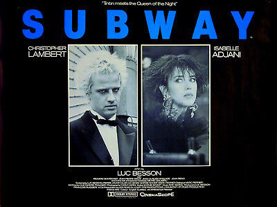SUBWAY 1985 Christopher Lambert, Isabelle Adjani, Richard Bohringer QUAD POSTER