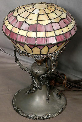 Antique Pairpoint style Meriden Leaded Art Glass Vintage Grape Silver Lamp
