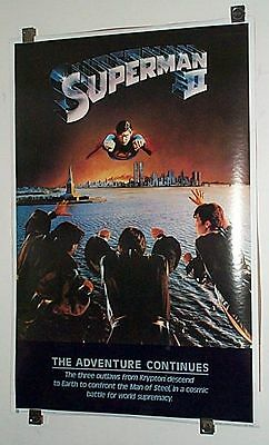 Original 1980 Christopher Reeve Superman 2 movie 35 x 23 DC Comics action poster