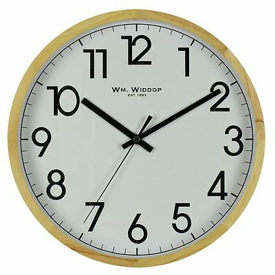 Wm. Widdop Milano 30cm White Dial Wooden Case Wall Clock Silent Sweep Classic