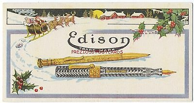 BLOTTER - Great EDISON FOUNTAIN PEN & MECHANICAL PENCIL ca1920's Christmas Scene