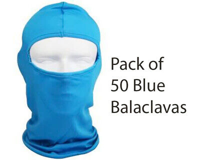 Pack of 50 Premium Quality Blue Balaclavas - One Size fits All Go Kart