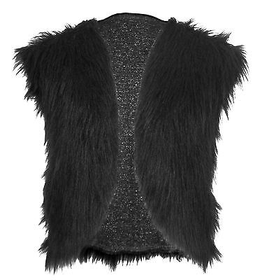 Adults Black Genghis Khan Faux Fur Waistcoat Mongal Viking Unisex Fancy Dress