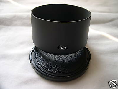New Metal Telephoto 62mm Screw-in Lens Hood + Cap