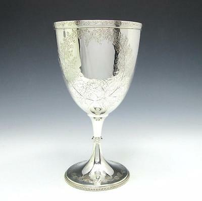 """Antique 1872 Hand Chased Sterling Silver Goblet 7"""" Wine Cup - Sheffield - 207g"""