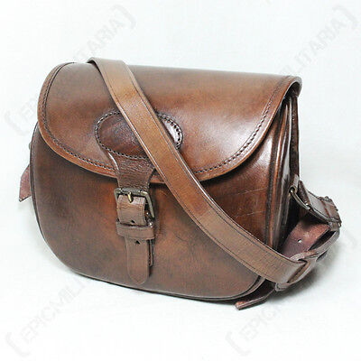 BUFFALO LEATHER HANDBAG - Bag Satchel Shoulder bag Brown Hinged Buckle Ladies