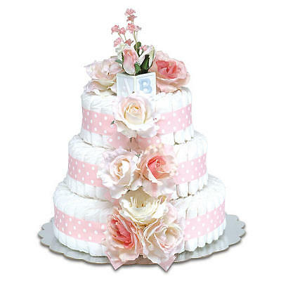 Bloomers Baby Diaper Cake-Classic Pink Roses with Polka Dots - Large 3-Tier