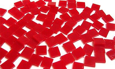 """110 Mosaic Tiles 1/2"""" BRIGHT TOMATO RED OPAL Stained Glass GORGEOUS!"""