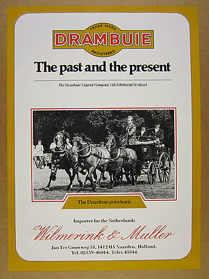 1985 Drambuie Liqueur pony horse team photo vintage print Ad