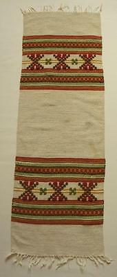 Swedish hand-woven wool  Skane wool runner w traditional pattern with fringes