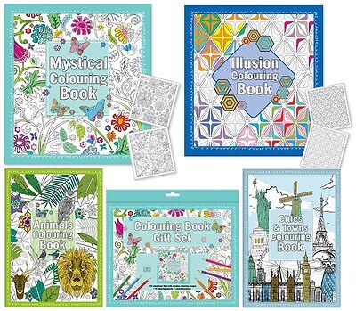 ADULT COLOURING BOOKS - Art Colour Therapy Stress Relief Calm Relaxation {Anker}