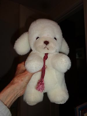 1982 Gund Smooch Puppy Dog Plush White w Burgandy Rope Neck Tie Rattle In Tail