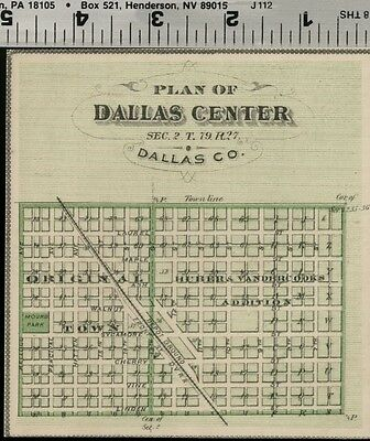 Dallas Center, Iowa Street Map / Plan (Dallas County); Authentic 1875 Item
