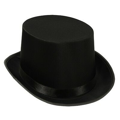 Adult Classic Victorian Steampunk Satin Top Hat Black One Size