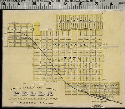 Pella Iowa Street Map / Plan (Marion County); Authentic 1875 Item