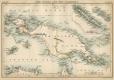 Papua New Guinea & New Caladonia: Authentic 1889 Map showing Topography