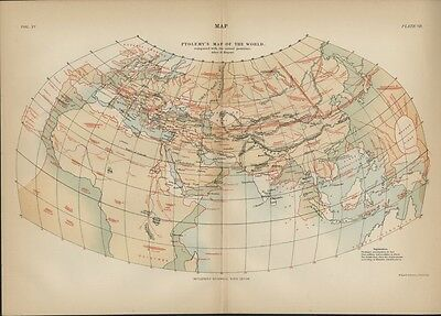 Ptolemy's Ancient Map of the World: Authentic 1889 Map; Britannica