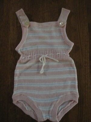 Vintage knitted pink stripe baby romper/sunsuit-c 1950-adorable!