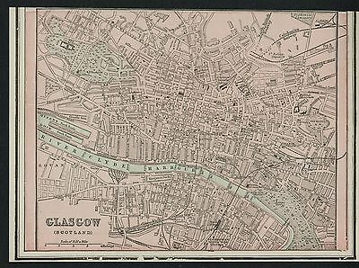 Glasgow Scotland Street Map / Plan: Authentic 1899; Detailed but SMALL